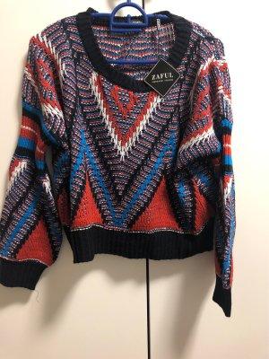 Zaful Knitted Sweater multicolored