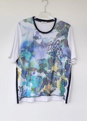 buntes Damen T-Shirt mit blauem Blumen-Muster, Lucia, Gr. 48