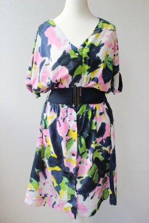 Buntes Flower Power Kleid Gr. 34 aus lockerem Stoff mit Gürtel