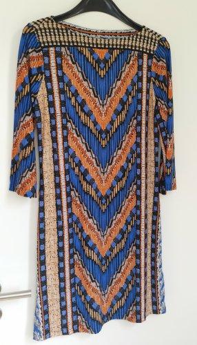 Buntes Kleid kurz 3/4-Ärmel blau/orange/beige Gr. S
