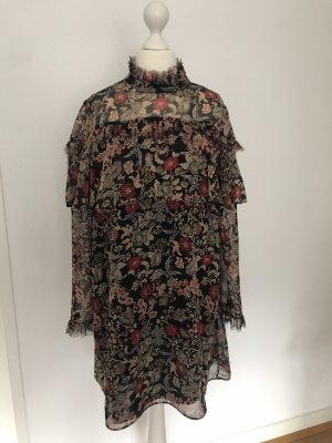 Buntes Kleid mit hohem Kragen von Zara