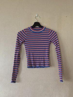Buntes Langärmliges Streifen T-Shirt