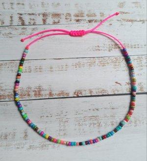 Buntes Makramee Fußkettchen Fußkette mit bunten Perlen und pinkem Band NEU