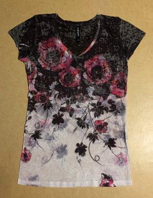 buntes Shirt mit Blumenmotiv, leicht durchsichtig, kurzärmlig, Gr. M (38/40)