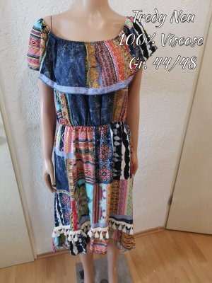 Tredy Robe bas asymétrique multicolore