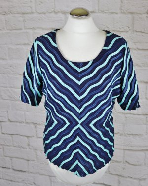 Buntes Stretch Shirt Tia Größe 42 44 Dunkelblau Blau Türkis Streifen Netz Mesh Bändchen Muster