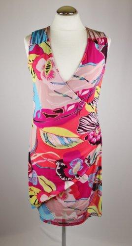 Buntes Wrapp Kleid Stretch comma, Größe M 38 Mesh Jersey Pink Türkis Wickelkleid Stretchkleid Sommerkleid