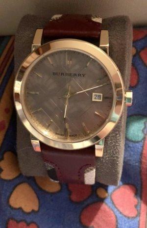 Burberry Orologio con cinturino di pelle multicolore