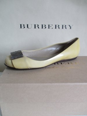Burberry Patent Leather Ballerinas lime yellow leather