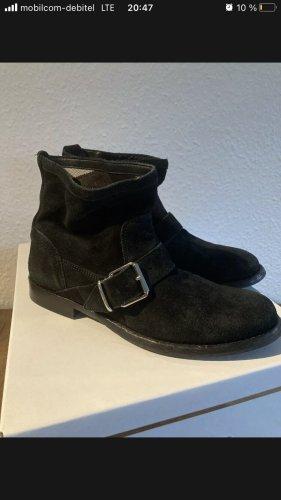 Burberry Black Suede Biker Boots in 36