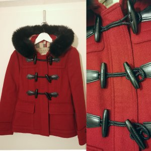 Burberry Blackwell Short Woll Coat with Removable Fur