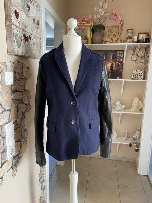 Burberry Blazer en cuir noir-bleu foncé