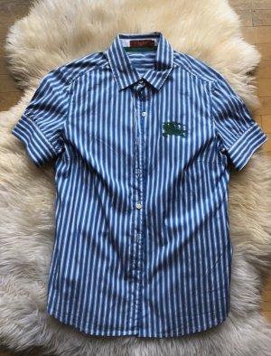 Burberry Bluse Kurzarm blau weiß gestreift stylisch Luxus 38