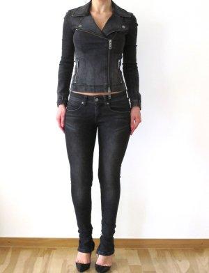 Burberry Brit Jeans Biker Grey Set Zipper Skinny Leg 26 Bexton NEU