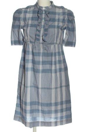 Burberry Brit Abito a maniche corte blu-bianco motivo a quadri stile casual