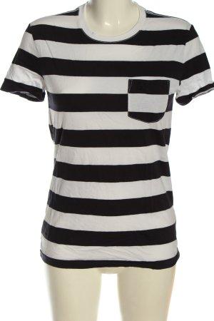 Burberry Brit Maglietta a righe bianco-nero stampa integrale stile casual