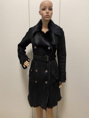 Burberry Damen Mantel Ledermantel in Schwarz Größe :34