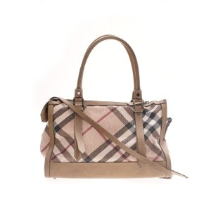 Burberry Embossed Leather Check Satchel