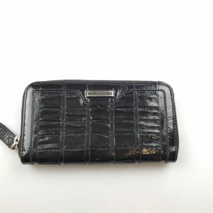 Burberry Embossed Patent Leather Zip Around Wallet