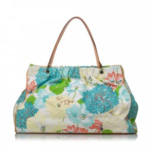 Burberry Floral Printed Canvas Tote Bag