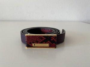 Burberry Cinturón de cuero rojo frambuesa-negro Cuero