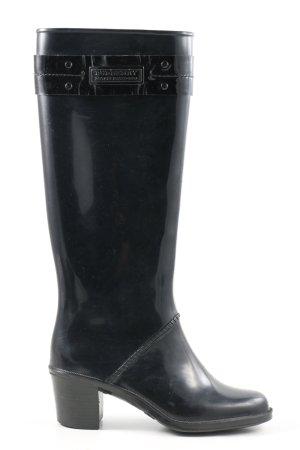 Burberry Botte en caoutchouc noir style décontracté