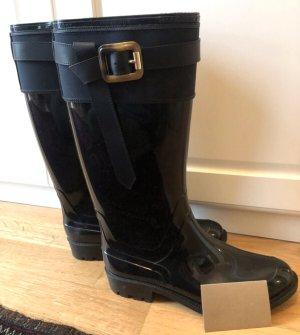 Burberry Wellington laarzen zwart-donkerblauw