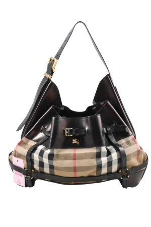Burberry Sac porté épaule noir-crème motif à carreaux style d'affaires