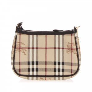 Burberry Haymarket Check Canvas Baguette