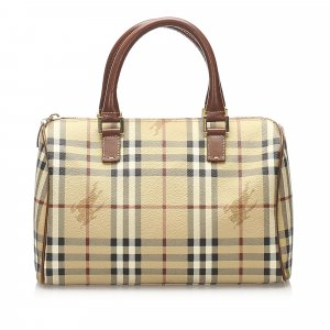 Burberry Haymarket Check Canvas Boston Bag