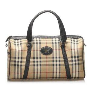 Burberry Haymarket Check Canvas Boston Bag