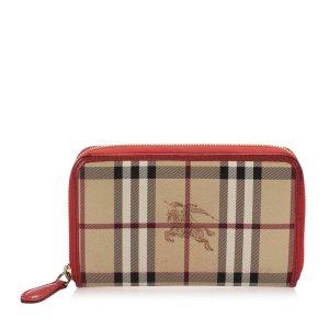 Burberry Haymarket Check Canvas Long Wallet