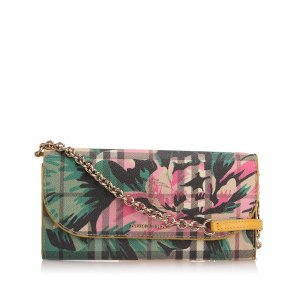 Burberry Haymarket Check Peony Rose Henley Wallet On Strap
