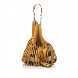 Burberry House Check Belgrove Fringe Bucket Bag