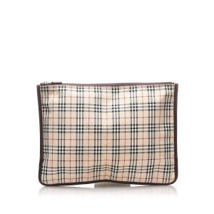 Burberry House Check Canvas Clutch Bag