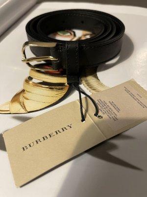 Burberry Cinturón de cuero negro-color oro