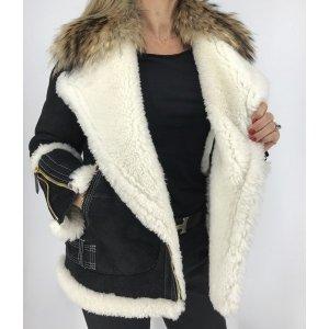 Burberry Giacca in pelliccia nero-bianco