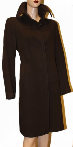 Burberry Short Coat dark brown wool