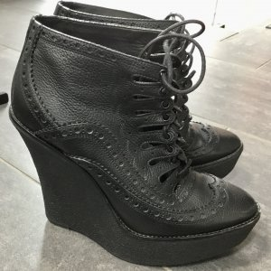 Burberry Wedge Booties black leather