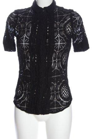 Burberry Kurzarmhemd schwarz Webmuster Elegant