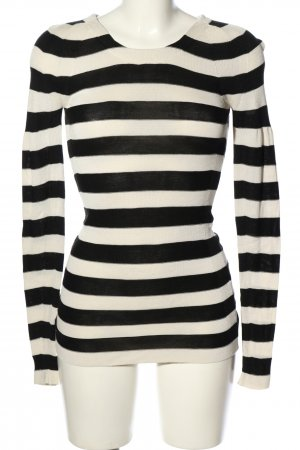Burberry Fine Knit Jumper black-natural white striped pattern casual look