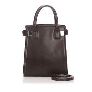 Burberry Satchel dark brown leather