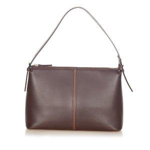 Burberry Sac porté épaule brun foncé cuir
