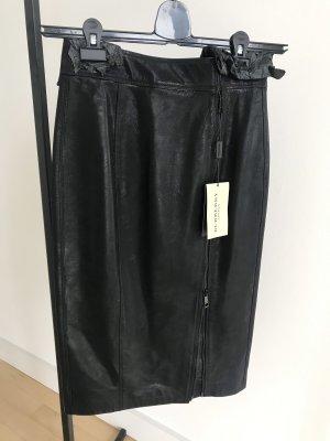 Burberry Leder Rock Pencilskirt schwarz XS 34 Neu