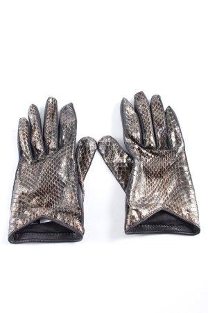 Burberry Lederhandschuhe schwarz-silberfarben Animalmuster Elegant