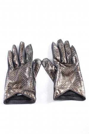 Burberry Leather Gloves black-silver-colored animal pattern elegant
