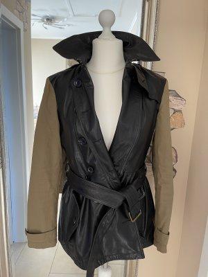 Burberry Skórzana kurtka czarny-jasnobrązowy
