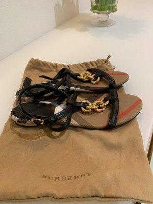 Burberry Outdoor Sandals black-gold-colored leather