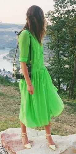 Burberry Robe longue vert fluo
