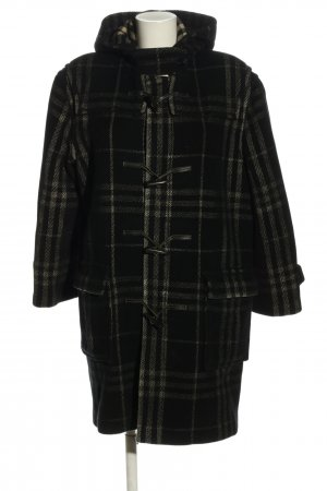 Burberry London Hooded Coat black-natural white check pattern casual look